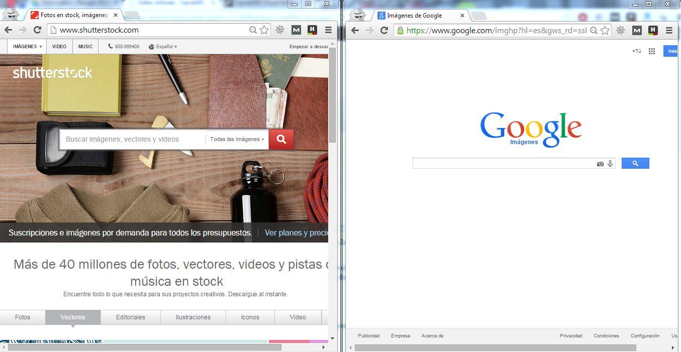 google imagenes y shutterstock